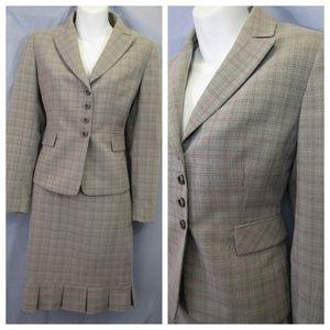 Tahari ASL Gray Pink Plaid Skirt Suit Career Sz 4P